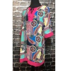 UMGEE Tunic Dress Colorful Paisley Print Sz S